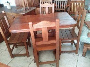 4 sillas +mesa de algarrobo NUEVA