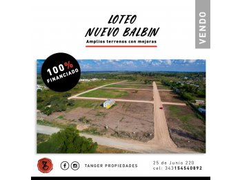 LOTEO EN PARANÁ - CALLE BALBIN Y MIHURA