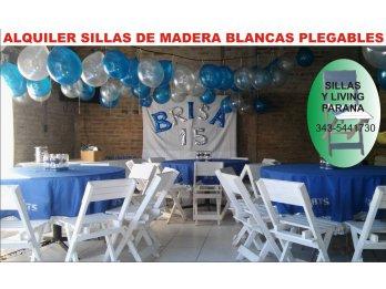 ALQUILER SILLAS BLANCAS PLEGABLES DE MADERA