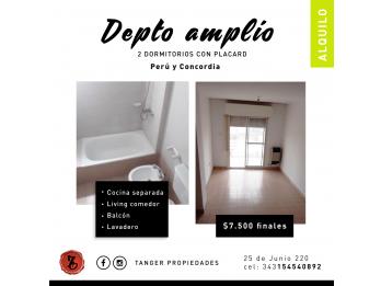 ALQUILO DPTO. 2 DORM.!!! PERÚ Y CONCORDIA. $7.500 FINALES!!!