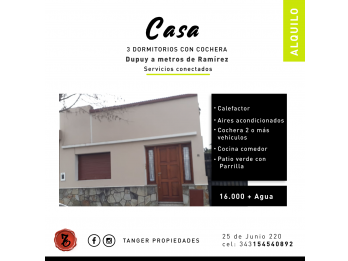 ALQUILO CASA 3 DORM. COCHERA VARIOS AUTOS, FONDO - DUPUY