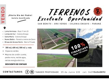CAPITALIZATE CON TERRENO 100% FINANCIADO. GUARDIA 155183544