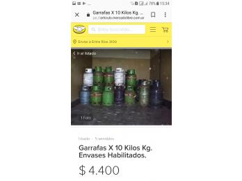 garrafa 10kgs vacia $4.400