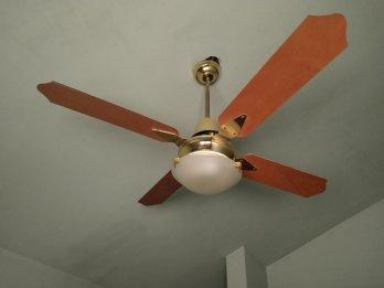 Ventilador de techo con paletas de madera y luminaria (2)