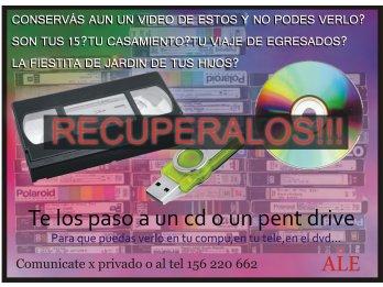 VHS a cds,pent drive,dvd